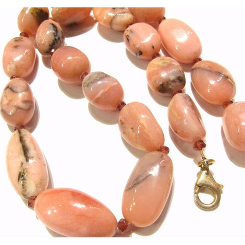Pink Opal and Garnet Necklace with Gold Plate Trigger Clasp