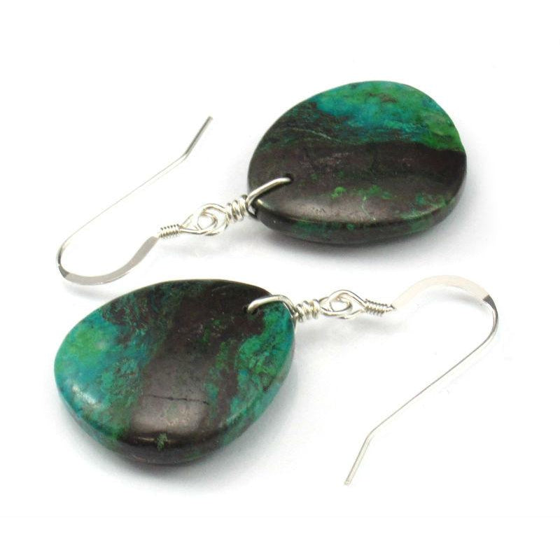 Chrysocolla Earrings with Sterling Silver French Ear Wires