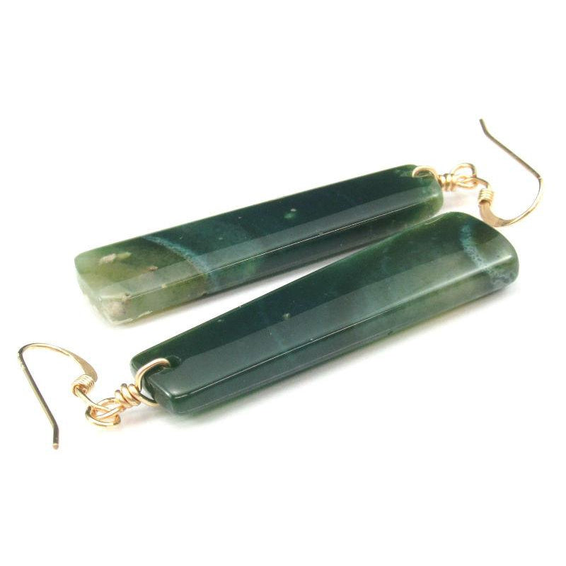 Moss Agate Earrings with Gold Filled French Ear Wires