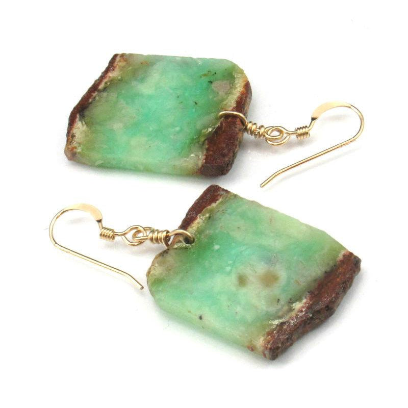Chrysoprase Earrings with Gold Filled French Ear Wires