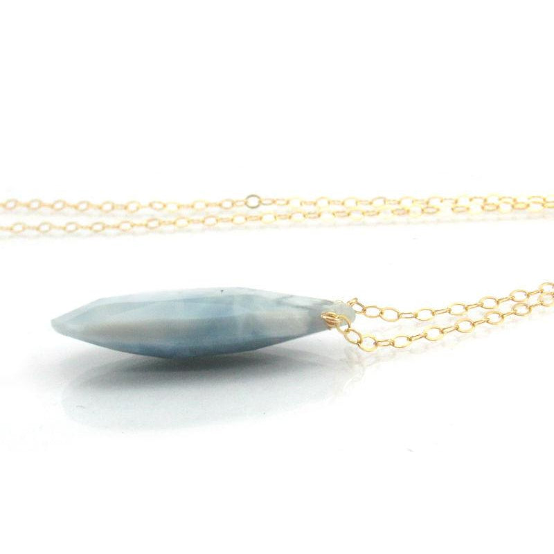 Blue Lace Agate Pendant Necklace with Gold Filled Spring Clasp
