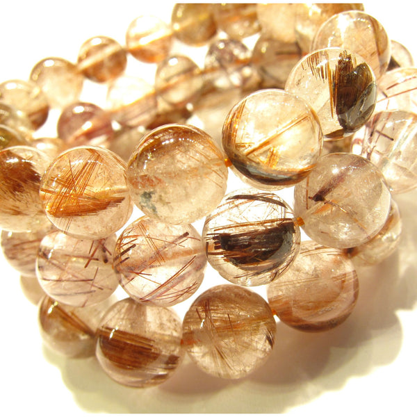 Rutilated Quartz Rounds Stretch Bracelet 12mm OR 13mm