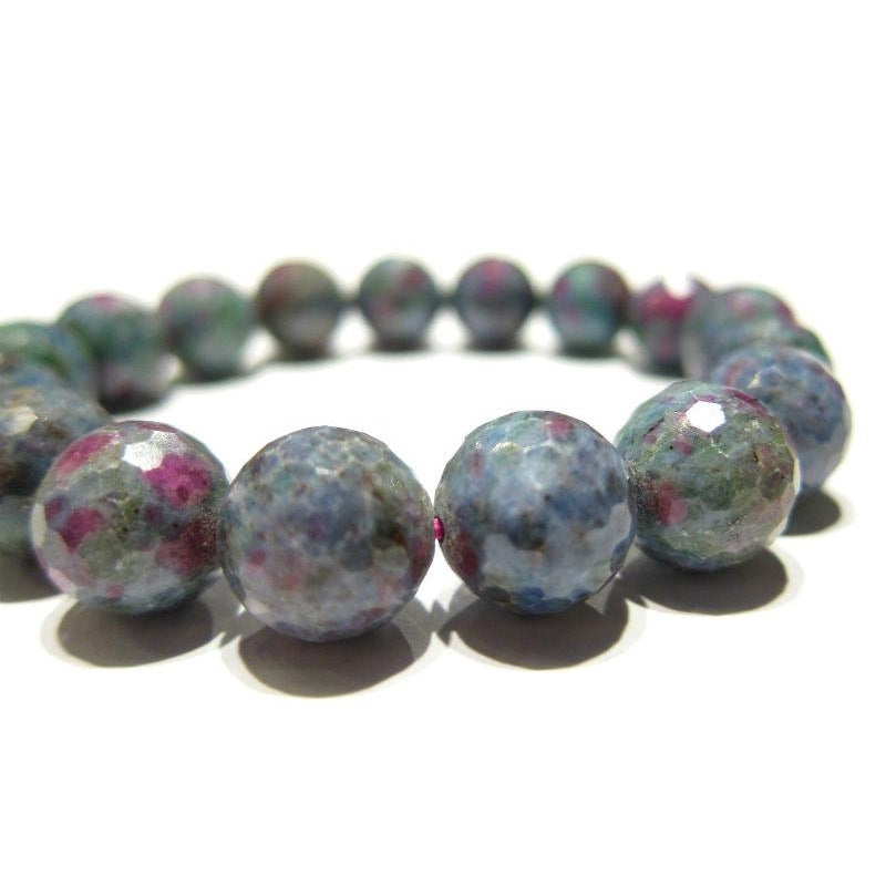 Blue Faceted Zoisite Rounds Stretch Bracelet 13mm
