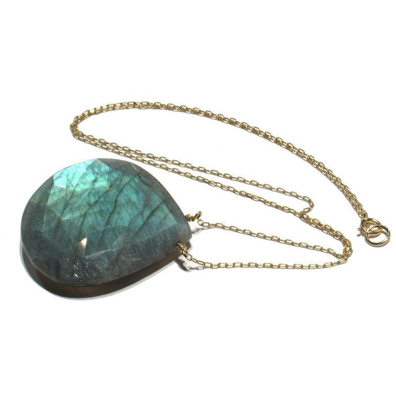 Labradorite Necklace with Gold Filled Spring Clasp