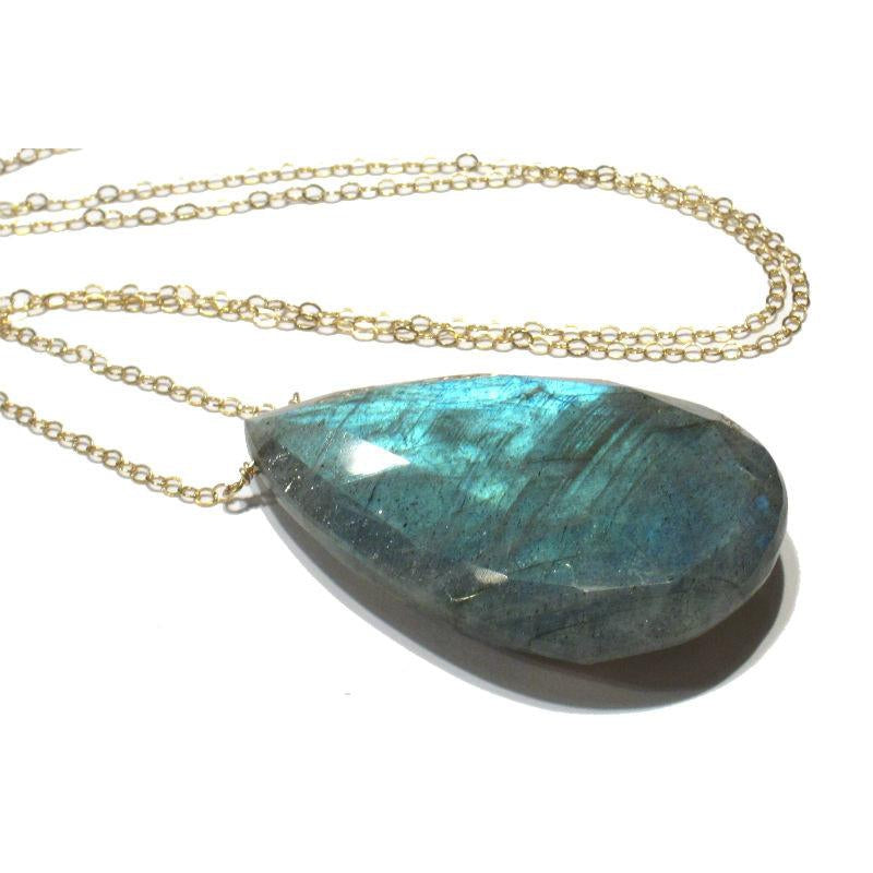 Labradorite Pendant Necklace with Gold Filled Chain and Spring Ring Clasp