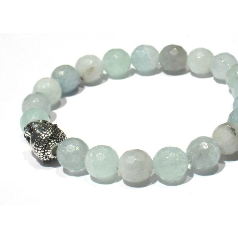 Aquamarine Bracelet with Buddha Bead on Elastic Cord