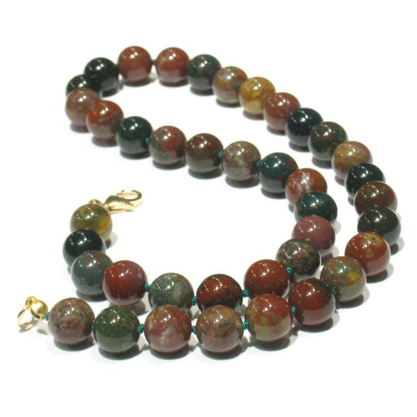 Bloodstone Necklace with Gold Filled or Sterling Silver Trigger Clasp