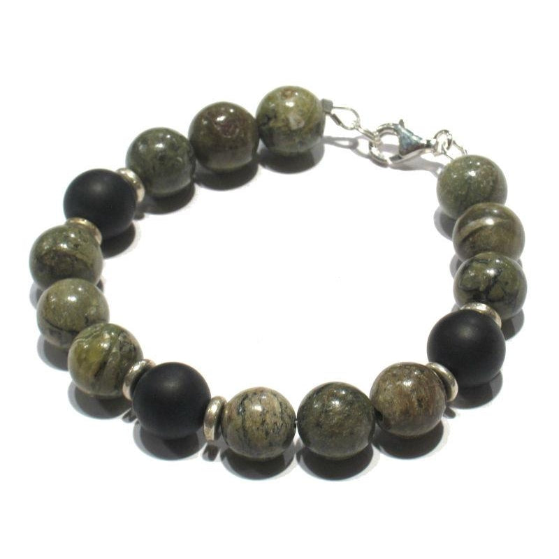 African Opal and Matte Onyx Bracelet with Sterling Silver Trigger Clasp