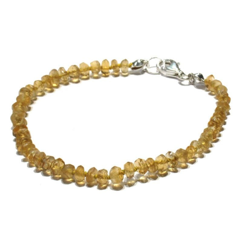 Citrine Bracelet Knotted with Sterling Silver Trigger Clasp