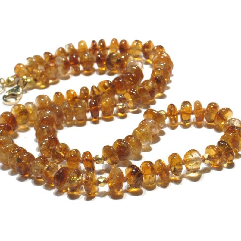 Citrine Necklace Knotted with Gold Filled Trigger Clasp