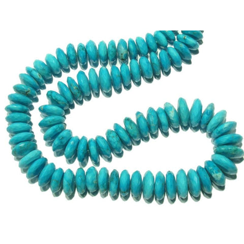 Natural Arizona Turquoise Graduated Faceted Disc Strand