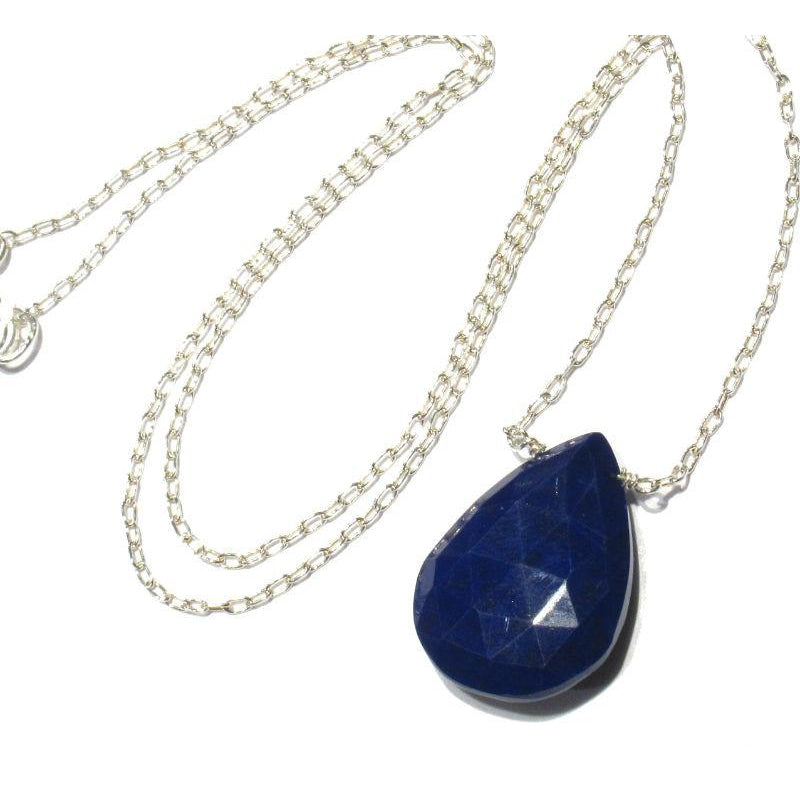 Lapis Lazuli Pendant Necklace with Sterling Silver Trigger Clasp