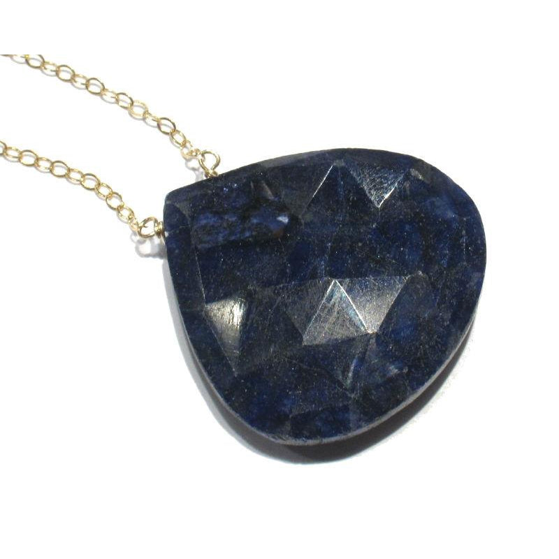 Sapphire Pendant Necklace with Gold Filled Spring Clasp