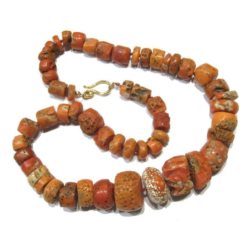 Antique Coral Necklace with Gold Plated J-Hook Clasp