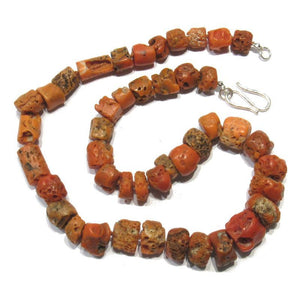 Antique Coral Necklace with Silver Plated S-Hook Clasp