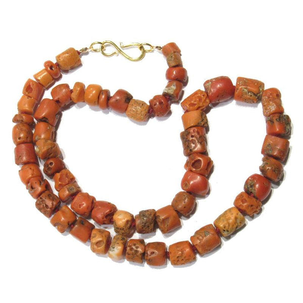 Gold Plated Silver Antique Beads: Antique Coral Necklace With Gold Plated S-Hook Clasp