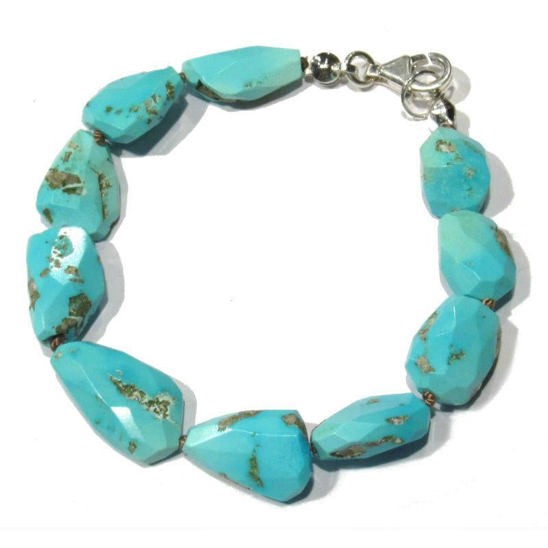 Sleeping Beauty Turquoise Bracelet with Sterling Silver Trigger Clasp