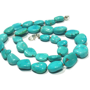 Sleeping Beauty Turquoise Necklace with Sterling Siver Trigger Clasp