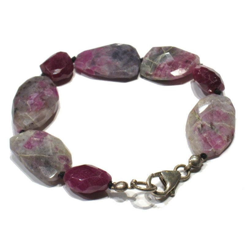 Ruby and Ruby-Zoisite Knotted Bracelet with Sterling Silver Trigger Clasp
