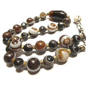 "Banded Agate Heirloom ""Eye"" Beads 5"