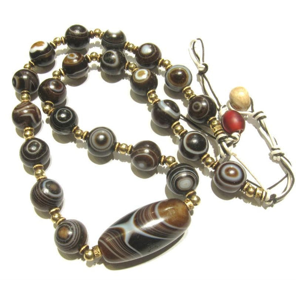 "Banded Agate Heirloom ""Eye"" Beads 6"