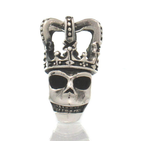 Sterling Silver Skull 3D Pendant with Crown