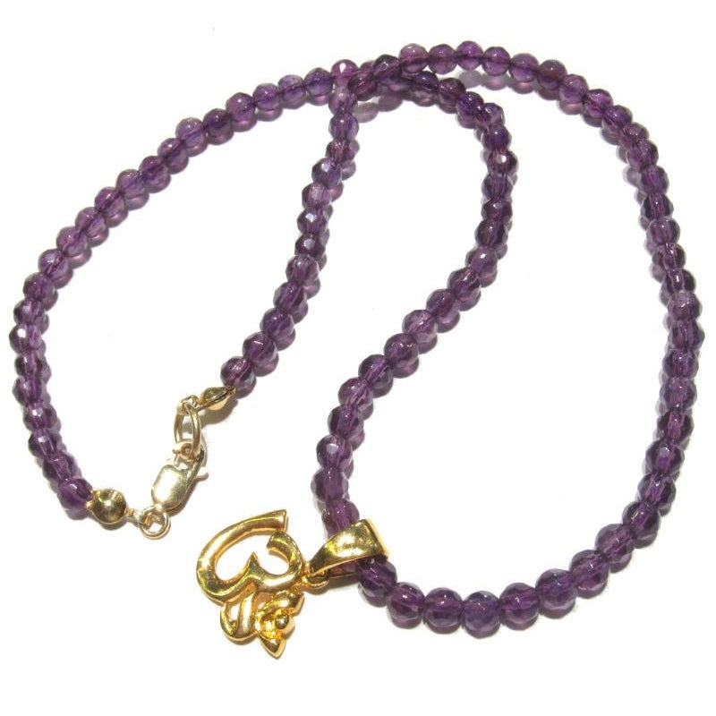 Amethyst Necklace with Brass OM Pendant with Gold Filled Lobster Claw Clasp