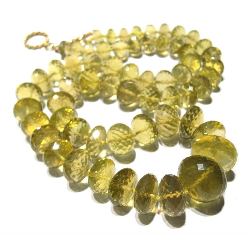Yellow/Golden Topaz Necklace with Gold Filled Spiral Toggle Clasp