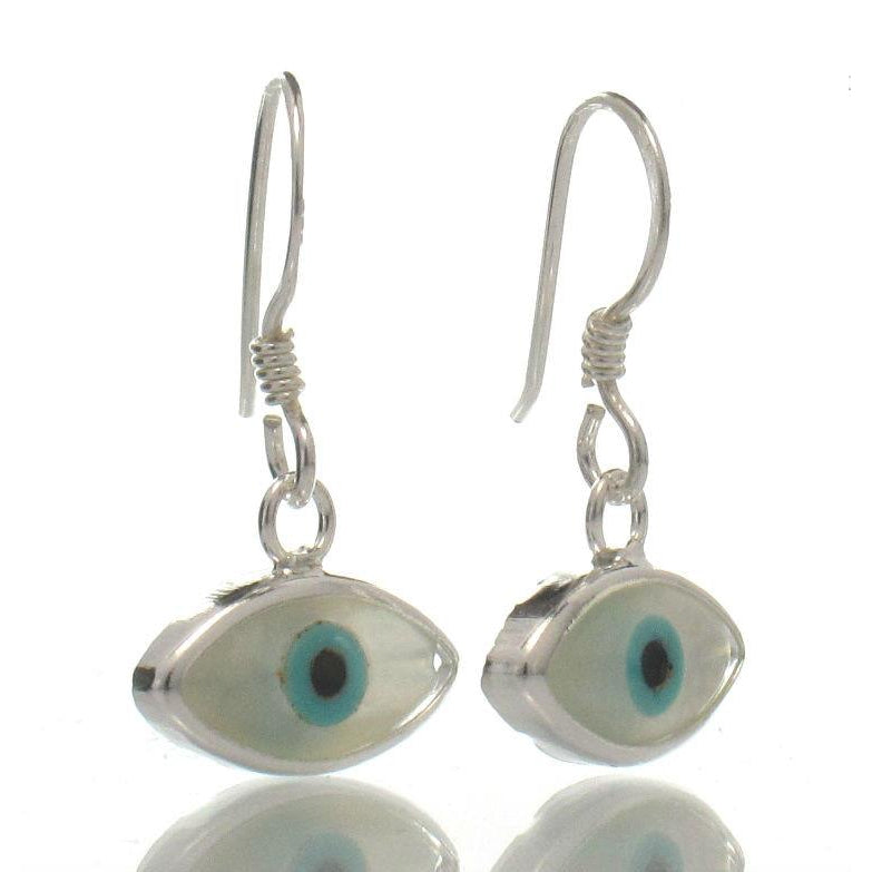 "Sterling Silver Mother of Pearl ""Evil Eye"" Earrings"