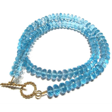 Swiss Blue Topaz Necklace with Gold Filled Toggle Clasp