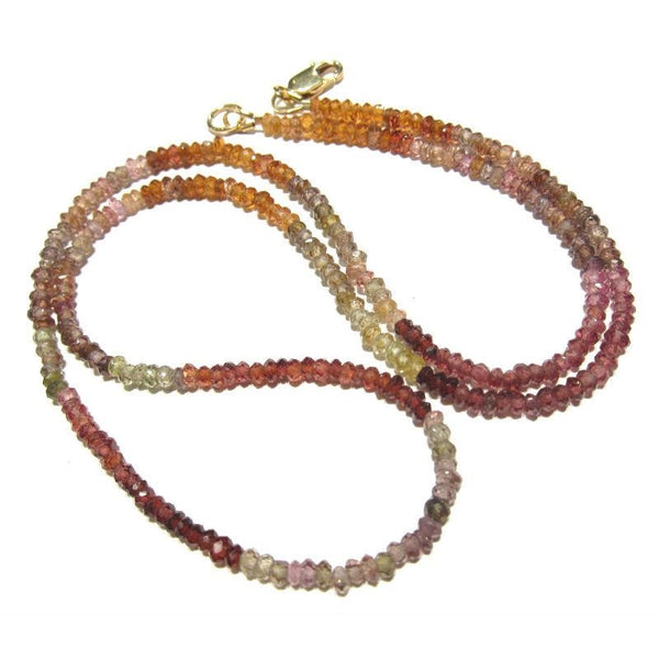 Garnet Natural Varigated Color Necklace with Gold Filled Lobster Claw Clasp