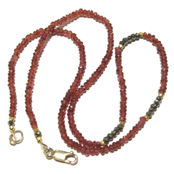 Garnet and Pyrite Necklace with Gold Filled Lobster Claw Clasp