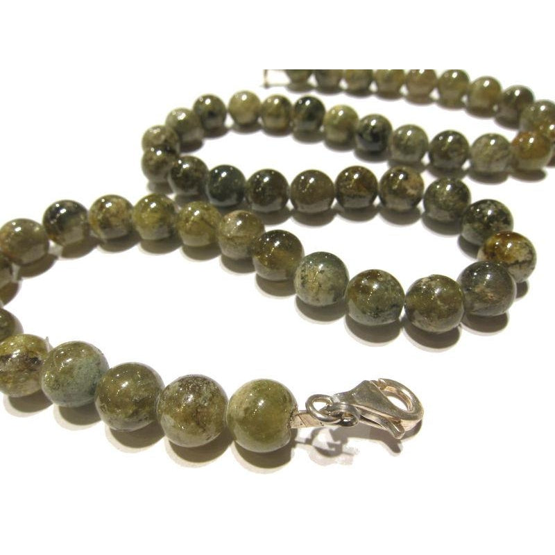 Green Garnet Necklace with Sterling Silver Trigger Clasp