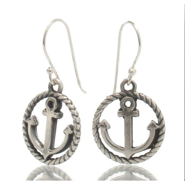 Sterling Silver Round Anchor Earrings