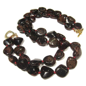 Garnet Necklace (Double Strand) with Gold Plate Toggle Clasp