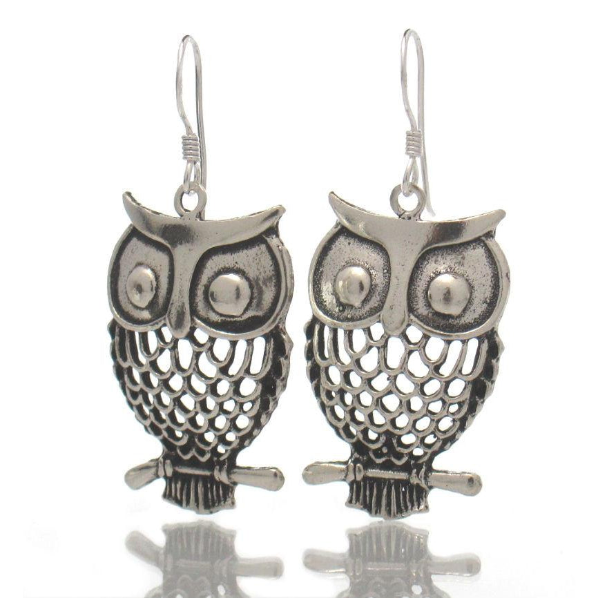 Sterling Silver Filigree Owl/Branch Earrings