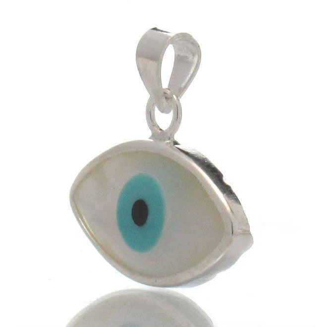 "Sterling Silver Mother of Pearl ""Evil Eye"" Pendant"