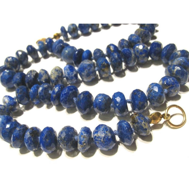 Lapis Lazuli Necklace Knotted with Gold Filled Trigger Clasp