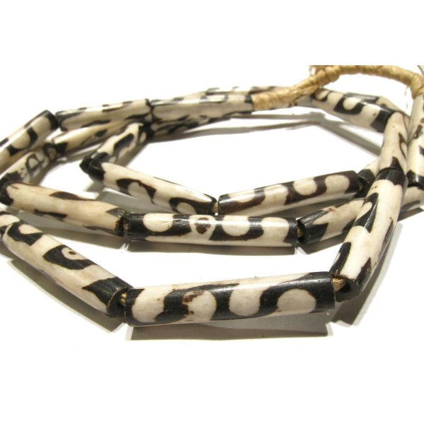 Turkana Cowbone Batik Dyed Tube Beads