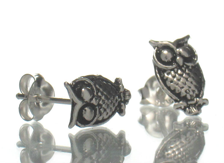 Sterling Silver Mini Owl Stud Earrings