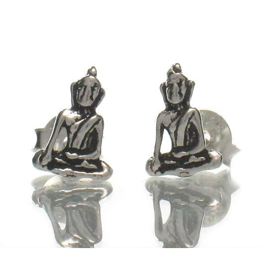 Sterling Silver Tiny Buddha Stud Earrings