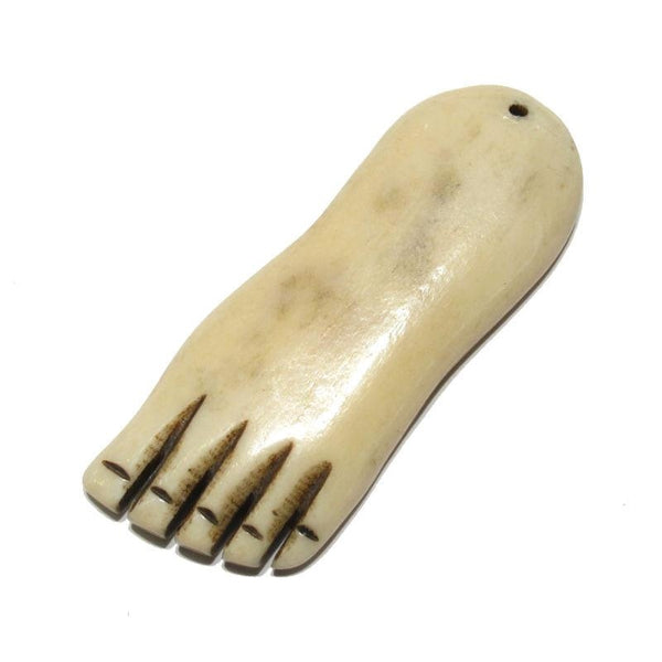 """Traveling"" Foot Hand Carved Cow Bone Pendant"