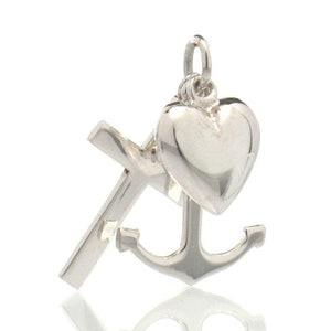 Sterling Silver Heart/ Anchor/Cross Charm, (Faith, Hope and Charity) Medium