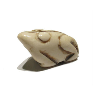 """Wealthy"" Frog Hand Carved Cow Bone Pendant"