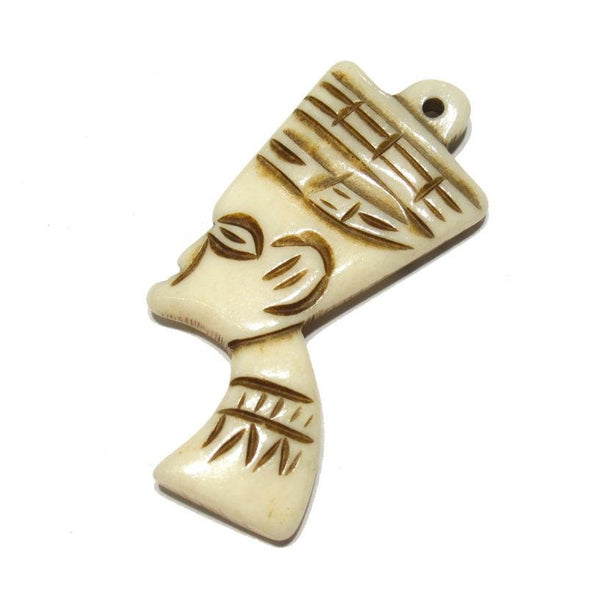 Nefertiti Portrait Style Hand Carved Cow Bone Pendant