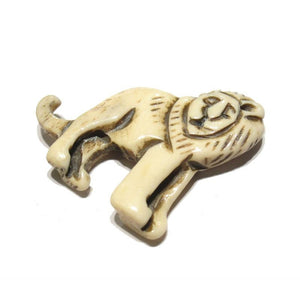 Leo the Lion Zodiac Symbol Hand Carved Cow Bone Pendant