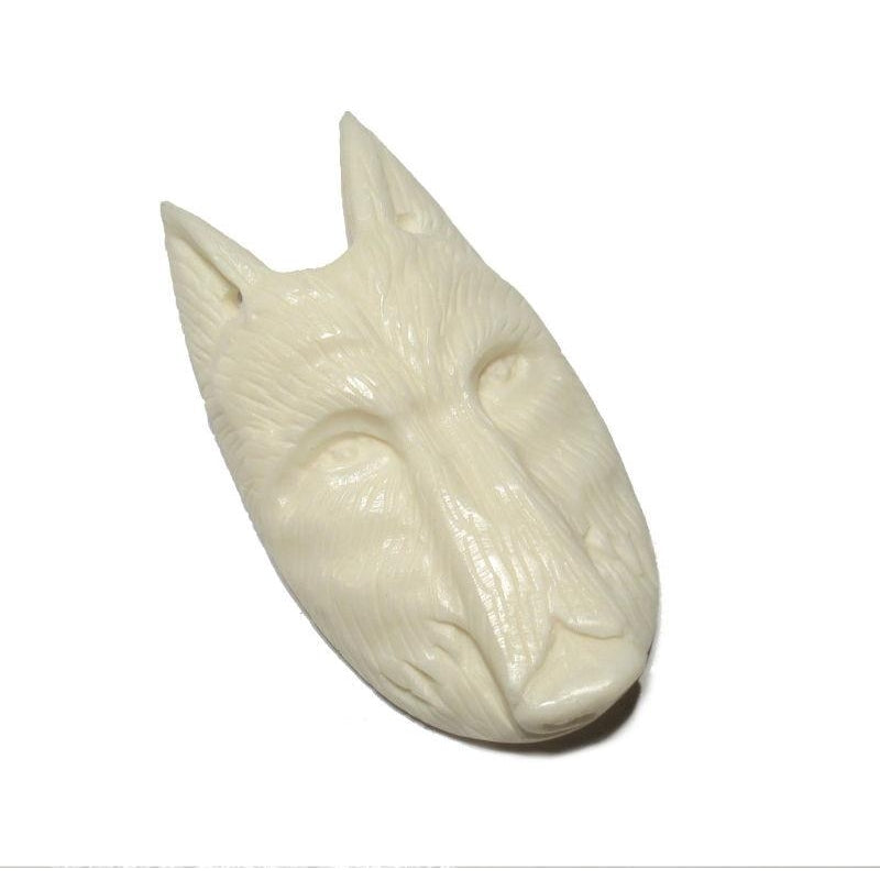 """Spirit Guiding"" Wolf Hand Carved Cow Bone Pendant"
