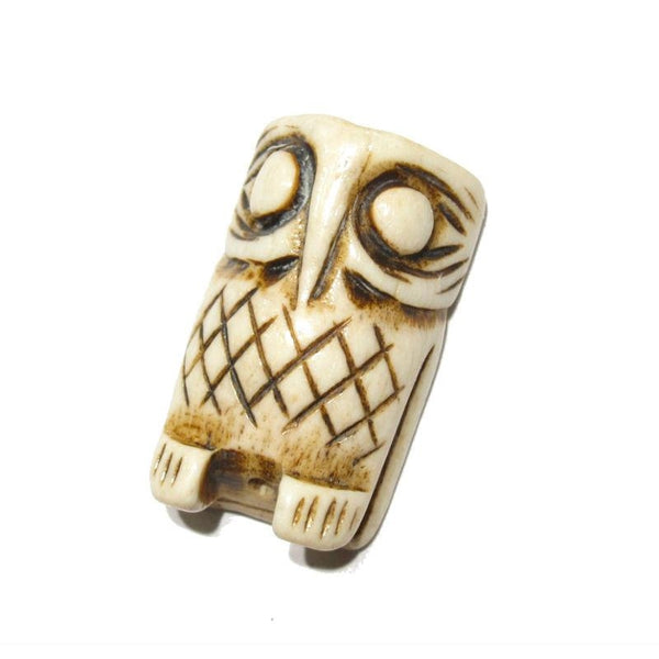 Owl Hand Carved Cow Bone Pendant 2