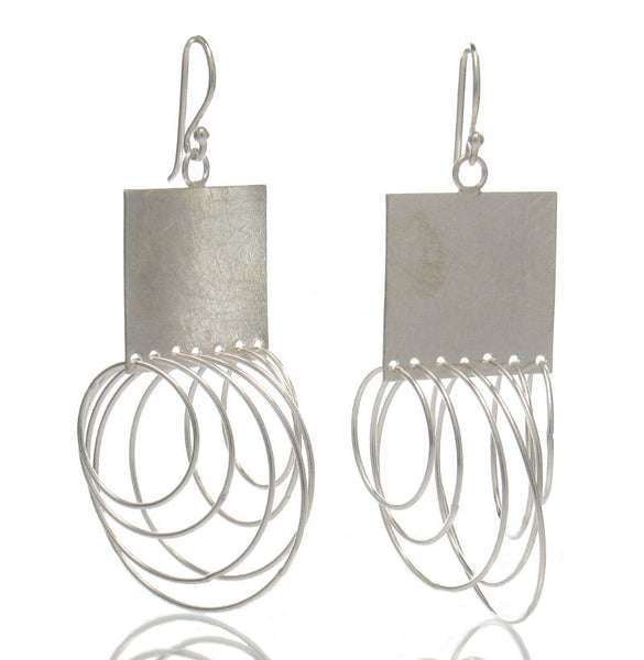 Sterling Silver Curly Square Earrings