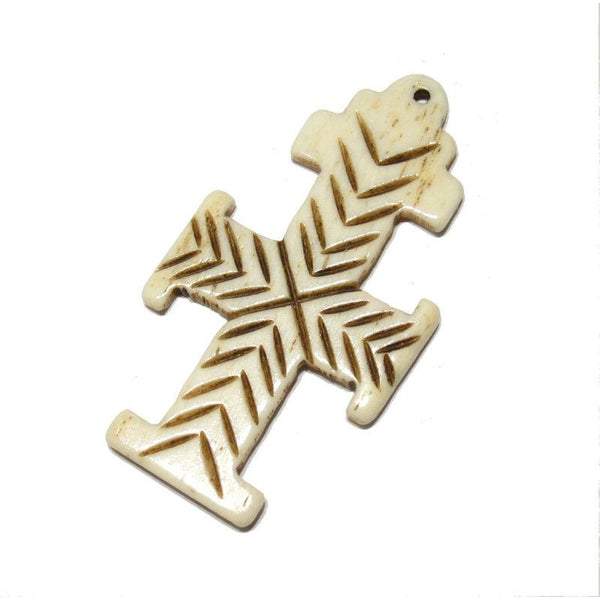 Ethiopian Coptic Style Cross Hand Carved Cow Bone Pendant 2